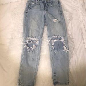 Garage straight legged distressed jeans women